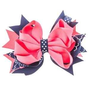 Other - 🌸4 for $20🌸 Girls Navy & Coral Hair Bow